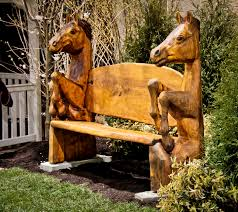 carved horse bench wood carving bench and horse
