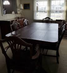 duncan phyfe dining set pedestal table pads 6 chairs buffet