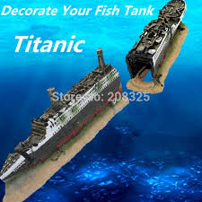 fish tank aquarium decoration mini titanic wooden boat aquarium
