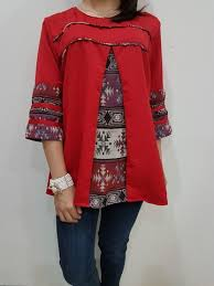 blouse wanita blouse batik modern wanita el 174 merk nurenka baju fashion