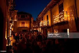 candle lit night in medieval village of pedraza photos and images