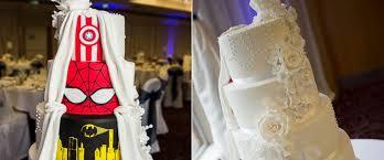 superhero wedding table decorations double take superhero wedding cake is one of a kind abc news