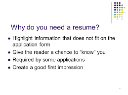 do you need a resume 1 senior resumes 2 agenda purpose learn basic format of a resume