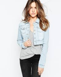 Lyst Only Cropped Denim Jacket In Blue