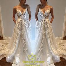 wedding dress overlay white spaghetti backless sheer lace overlay wedding dress