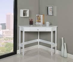 Tms Corner Desk Modern White Painted Oak Wood Corner Desk With Storage Drawer Of