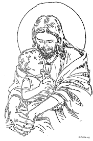 jesus with children coloring free download