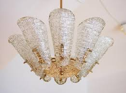 Glass Chandeliers For Dining Room Vintage Ice Glass Chandelier From Kalmar For Sale At Pamono