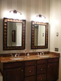 Metal Framed Mirrors Bathroom Ethnic Brown And Black Oak Wood Mixed Black Metal Frame