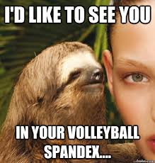 Spandex Meme - i d like to see you in your volleyball spandex rape sloth