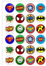 24 precut 40mm circle superhero logos retro edible wafer paper zoom