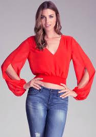bebe blouses lyst bebe smock waist blouse in