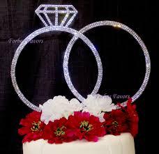 set of 2 stunning extra large silver rhinestone wedding rings cake