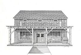 the country store drawing by j w kelly