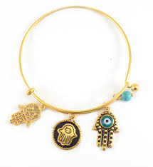 bangle charm bracelet gold images Jewish jewelry gold tone hamsa bangle charm bracelet jpg