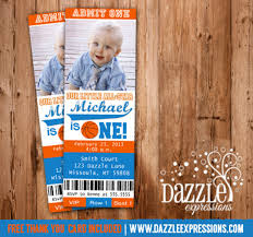 printable basketball ticket birthday photo invitation sports