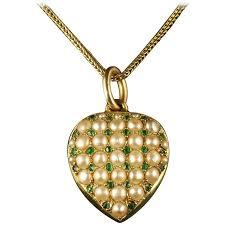 emerald heart necklace images Antique victorian heart locket emerald pearl 18 carat gold jpg