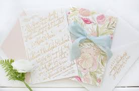 romantic gold foil calligraphy wedding invitations