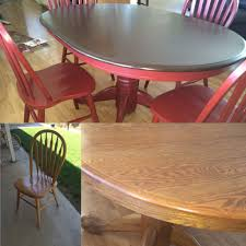 upcycled 90s oak dining set used gel stain for table top and milk