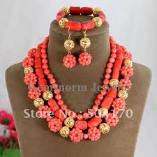 african beads necklace sets images Popular orange coral beads necklace jewelry set african lady coral jpg