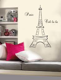 Eiffel Tower Wallpaper For Walls Bedroom Design A Single Bed With White Bedding On White Wooden