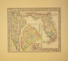 Map Of North And South Carolina 1860 County Map Of North Carolina South Carolina U0026 Florida By