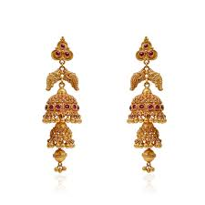jhumki earrings ruby stone studded antique jimmiki grt