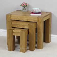 london chunky solid oak chunky nest of tables