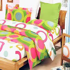 pink lime green circle dot teen bedding duvet cover set