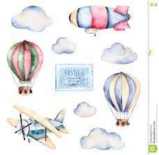 Pastel Colours Watercolor Collection With Air Balloons Clouds Airship And The
