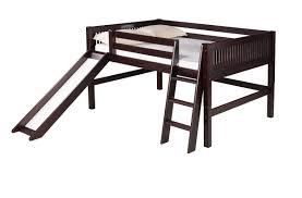 full low loft bed slide mission headboard black