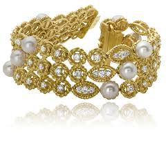 pearl bracelet with yellow gold images Diamond and pearl 3 row bracelet tavannes hammerman signature png