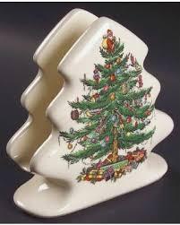 sale spode tree green trim napkin holder