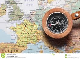 France On Map Travel Destination France Map With Compass Stock Photo Image