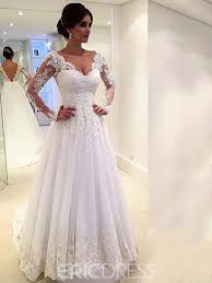 aline wedding dresses ericdress beautiful sleeves a line wedding dress 11611056