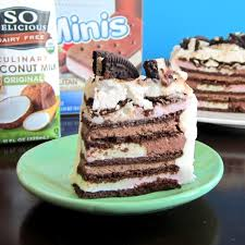 vegan ice cream sandwich cake with vanilla and chocolate whipped cream