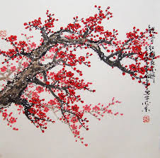 of china tree cherry blossom painting watercolour painting original