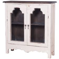 Glass Fronted Sideboards French Glass Front Hall Chest Distressed White