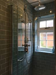 ensuite shower room fired earth retro metro atrium blue crackle