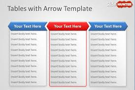 free tables with arrow powerpoint template free powerpoint