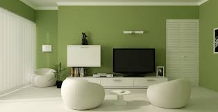 comfortable green paint color modern living room design room