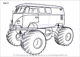 learn how to draw a volkswagen monster truck trucks step by step