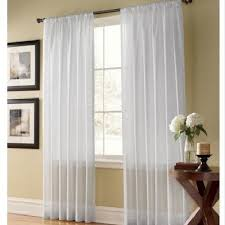 Curtains One Panel Or Two Twopages Contemporary Solid White Rod Pocket Sheer Curtain One