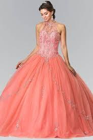 coral quince dresses elizabeth k gl2348 beaded halter corset quinceanera dress in coral