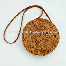 bali ata round bag natural grass rattan woven leather strap buy