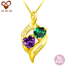 custom engraved necklaces aijaja 925 sterling silver 2 names birthstones necklaces
