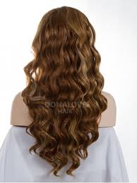 medium length hairstyles from the back mixed color mid back length wavy synthetic lace wig sny034