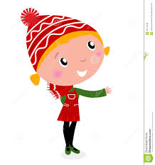 cute christmas cartoon in red costume royalty free stock