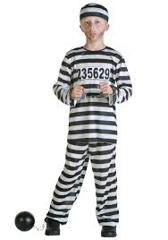Kids Prison Inmate Costume Kids Police Prisoner Halloween Costume