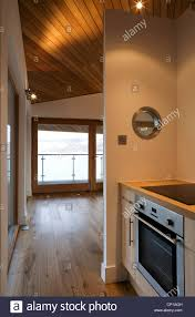 open plan kitchen and dining room in balnearn boathouse loch tay